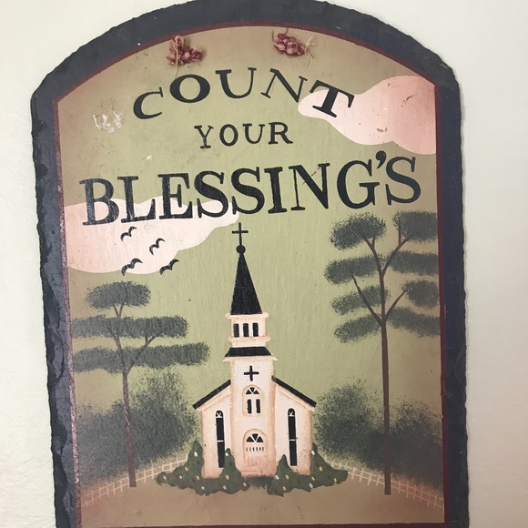 Count Your Blessings; slate home decor; Handmade